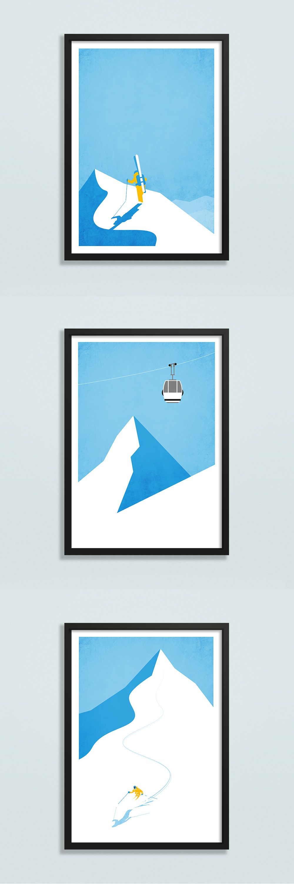 Gallery wall ski art set of prints home decor travel prints set