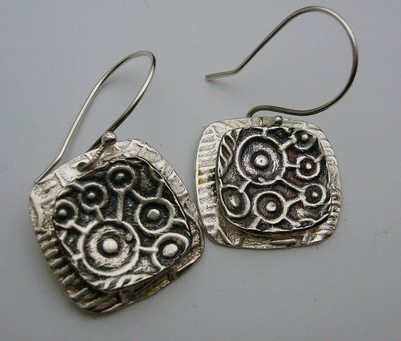 Oxidized Square Sterling Silver Earrings by designsbysuzyn on Etsy, $55.00