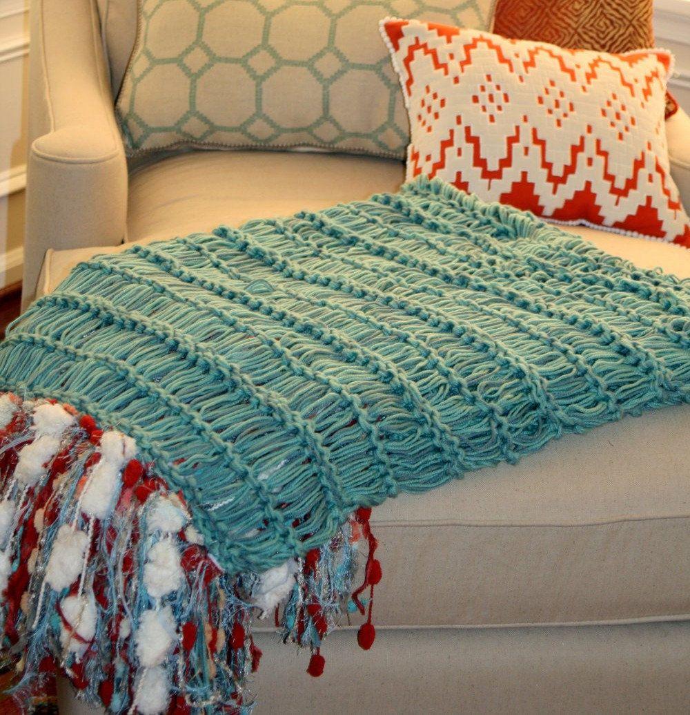 Deep Green Throw Blanket Knit With Dark Green Afghan