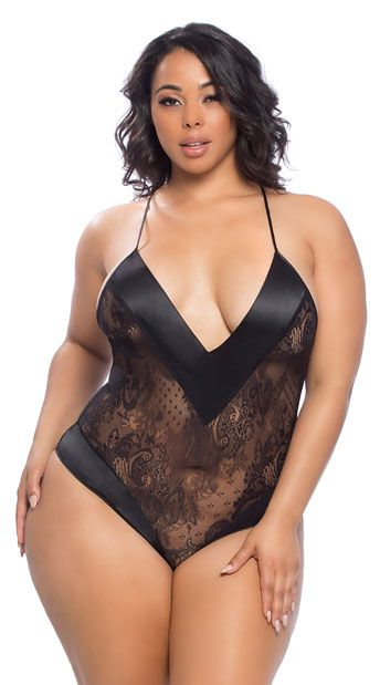8f20e2556f7a Get flirty in this sexy plus size black teddy featuring a deep V-neckline, satin  trim detailing, adjustable criss-cross spaghetti straps, a sheer lace and  ...