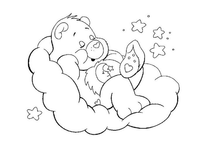 Sleeping care bear coloring page stencils and kid art
