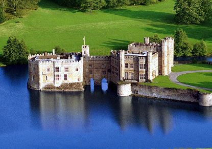 Leed's castle--Built in 1119, updated by King Henry VIII for his first wife, Katherine of Aragon; Elizabeth was imprisoned there as a young woman.