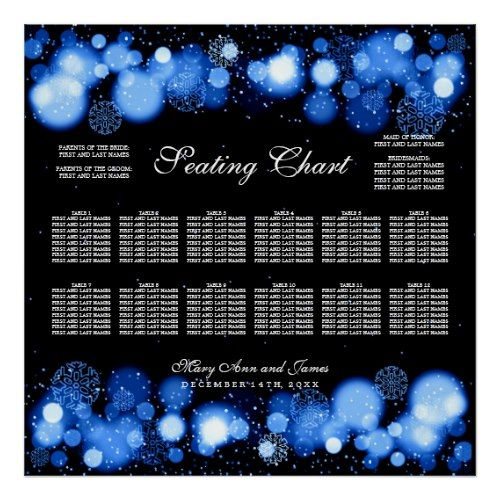 Winter Wedding Seating Chart Blue Lights