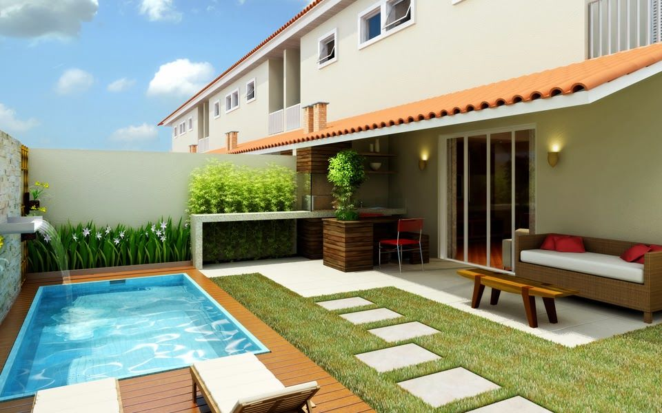 Decora o para quintal pequeno com piscina patios for Piscina pequena terraza