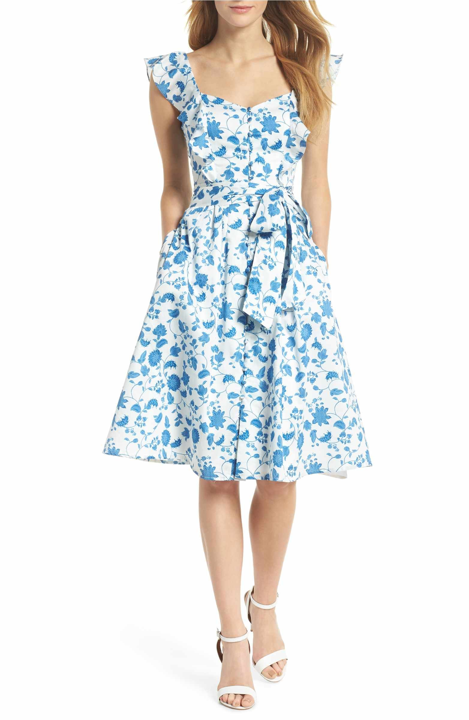Gal Meets Glam Collection Olivia Floral Wallpaper Print Fit Flare Dress Nordstrom Fit Flare Dress Flare Dress Pattern Flare Dress [ 2400 x 1564 Pixel ]