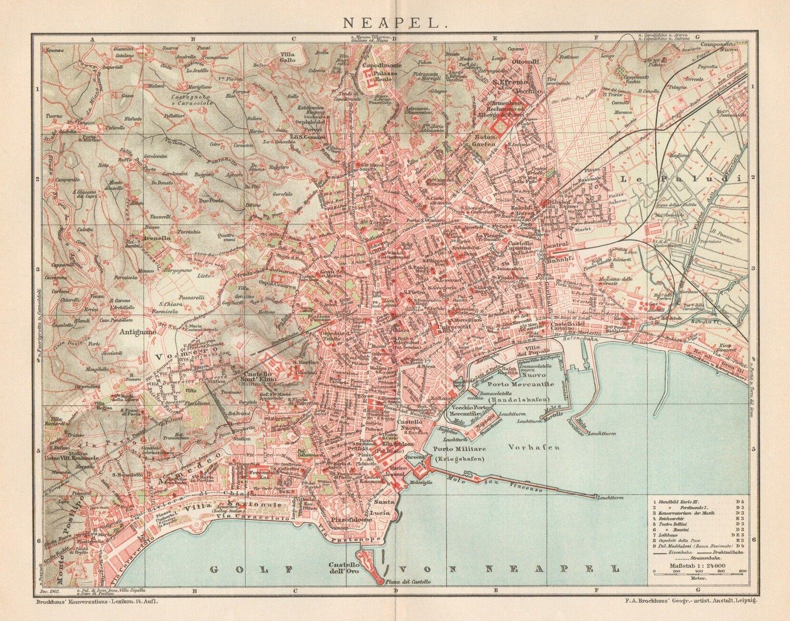 Cartina Stradale Di Napoli Citta.B6306 Napoli Pianta Della Citta Carta Geografica Antica Del 1903 Old Map Ebay Carte Geografiche Geografia Carta