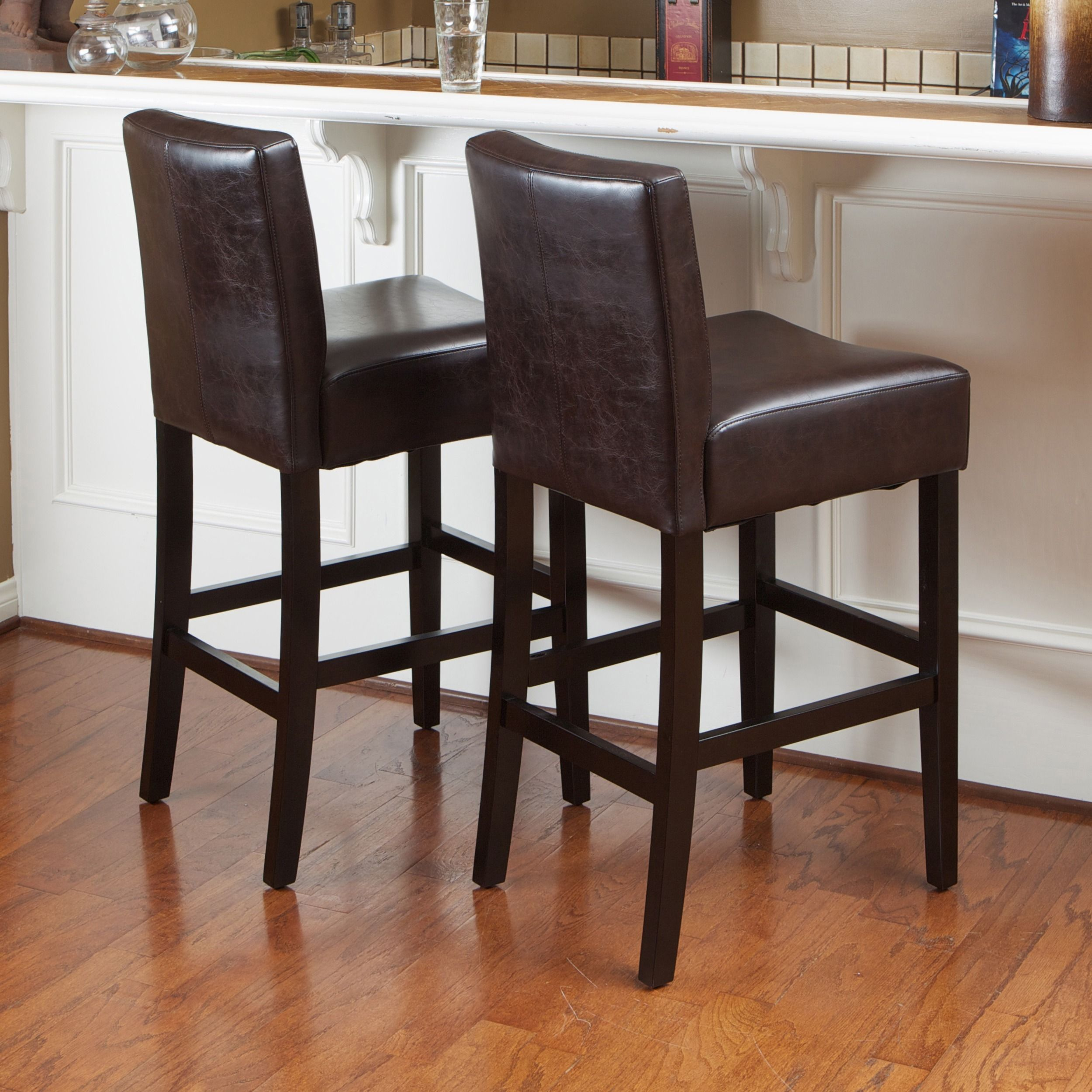 Lopez 30 Inch Brown Leather Bar Stools By Christopher Knight Home Set Of 2