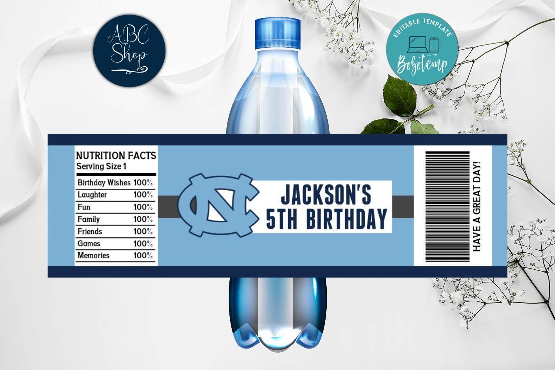 Printable North Carolina Tar Heels Water Bottle Labels Diy