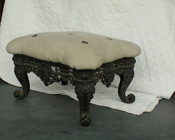 Antique Fabric Topped Rolling Gout Foot Rest Footstool Stool Ottoman. Antiques