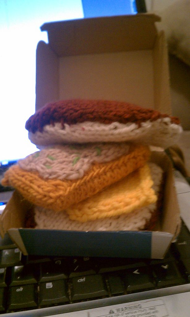 I knit a Filet o' Fish Sandwich. I have an aunt that loves them, and so this seemed like the only reasonable thing to do. I totally won at Christmas 2011 thanks to this gift.