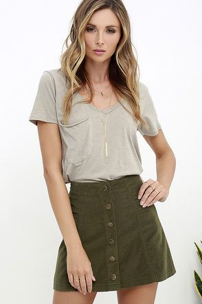 ec41db8e240 White Crow Austin Olive Green Corduroy Mini Skirt at Lulus.com!