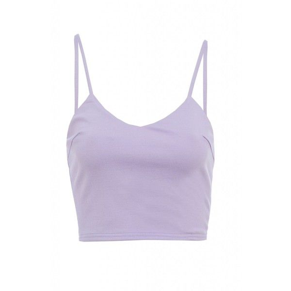 AX Paris Plain Strappy Cropped Top ($8.31) ❤ liked on Polyvore featuring tops, tank tops, crop tops, crop tank, strappy tank top, purple tank, purple tank top and spaghetti-strap top
