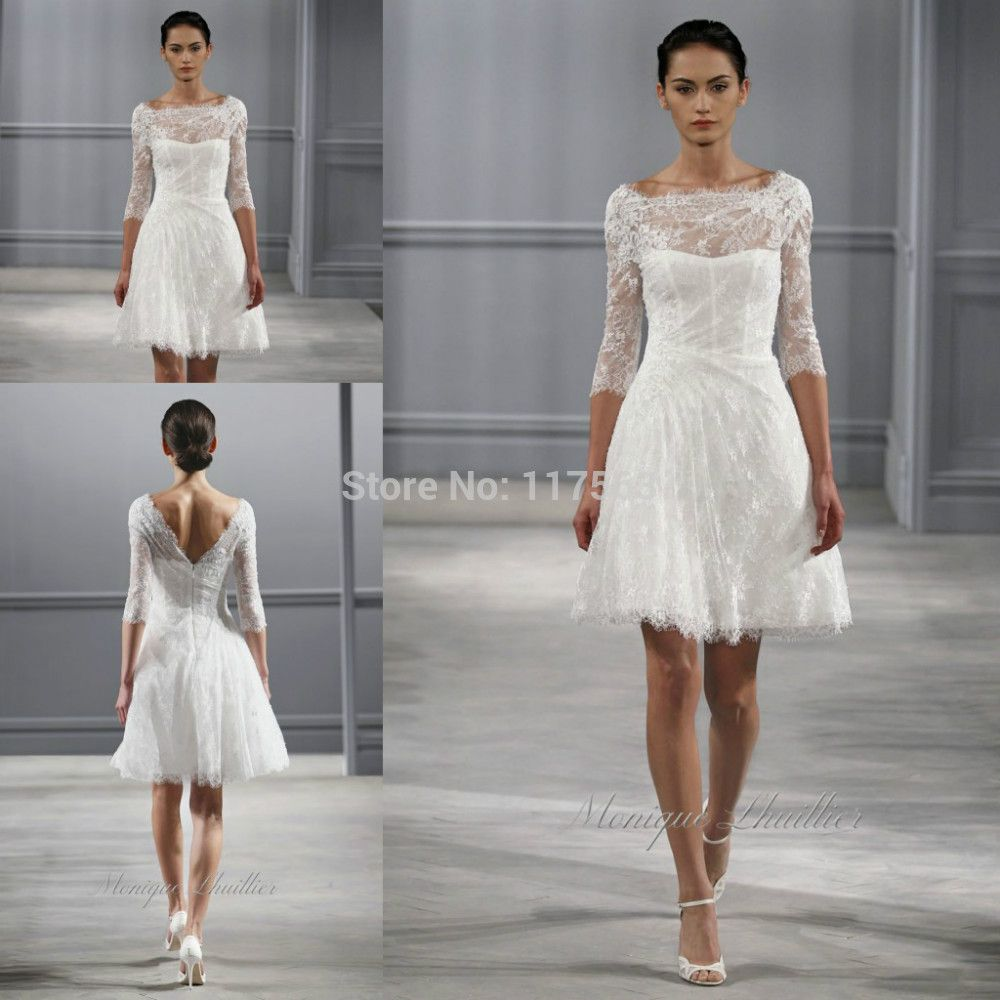 Half sleeves designer wedding dress illusion sheer top neck lace half sleeves designer wedding dress illusion sheer top neck lace applique short women wear bridal gown ombrellifo Choice Image