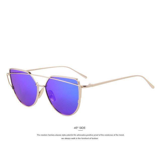 a44a7d6832a Fashion Women Cat Eye Sunglasses Flat Panel Mirror Lens 12 Colors
