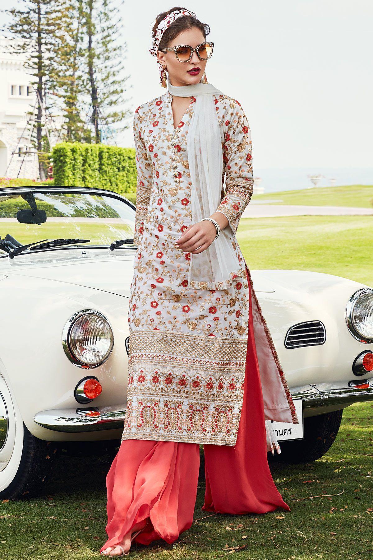 Buy Off White & Folly Orange Resham Embroidered Silk