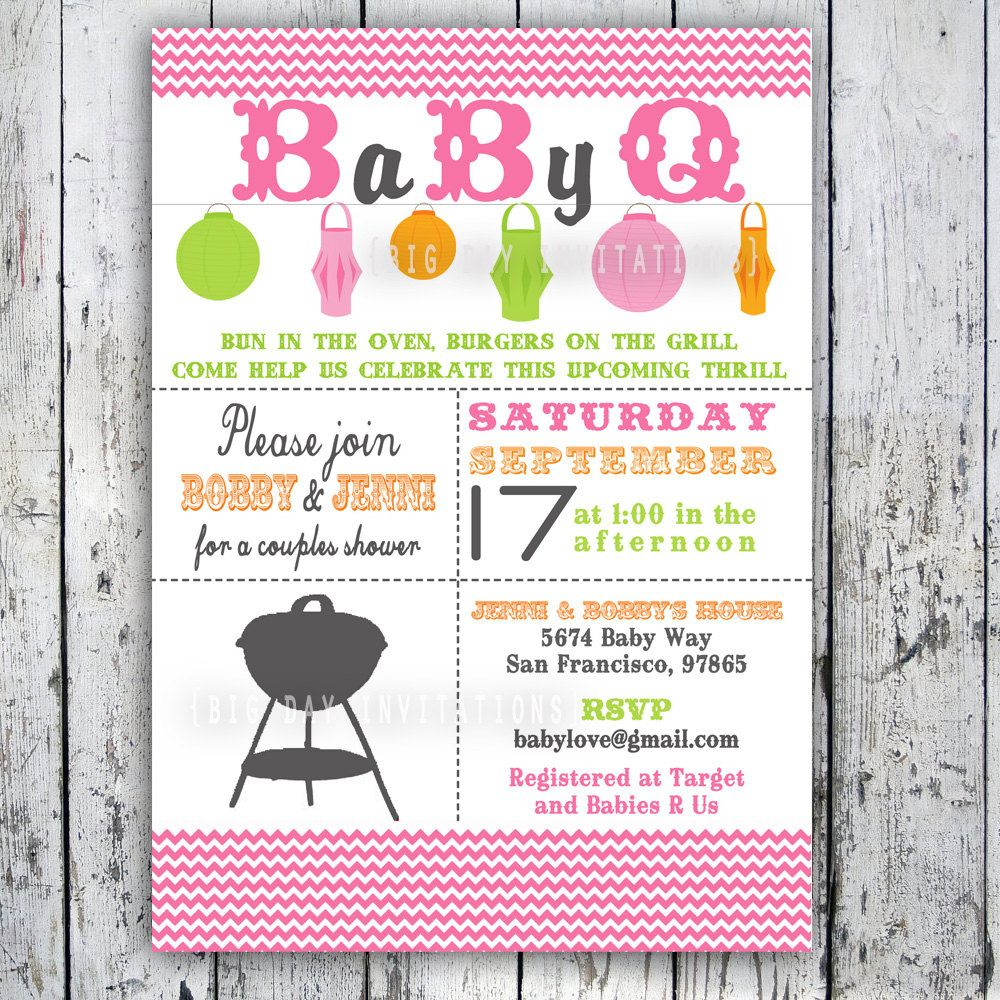 Baby Shower Invitation, Baby Q, Baby BBQ -- Digital Printable Custom ...