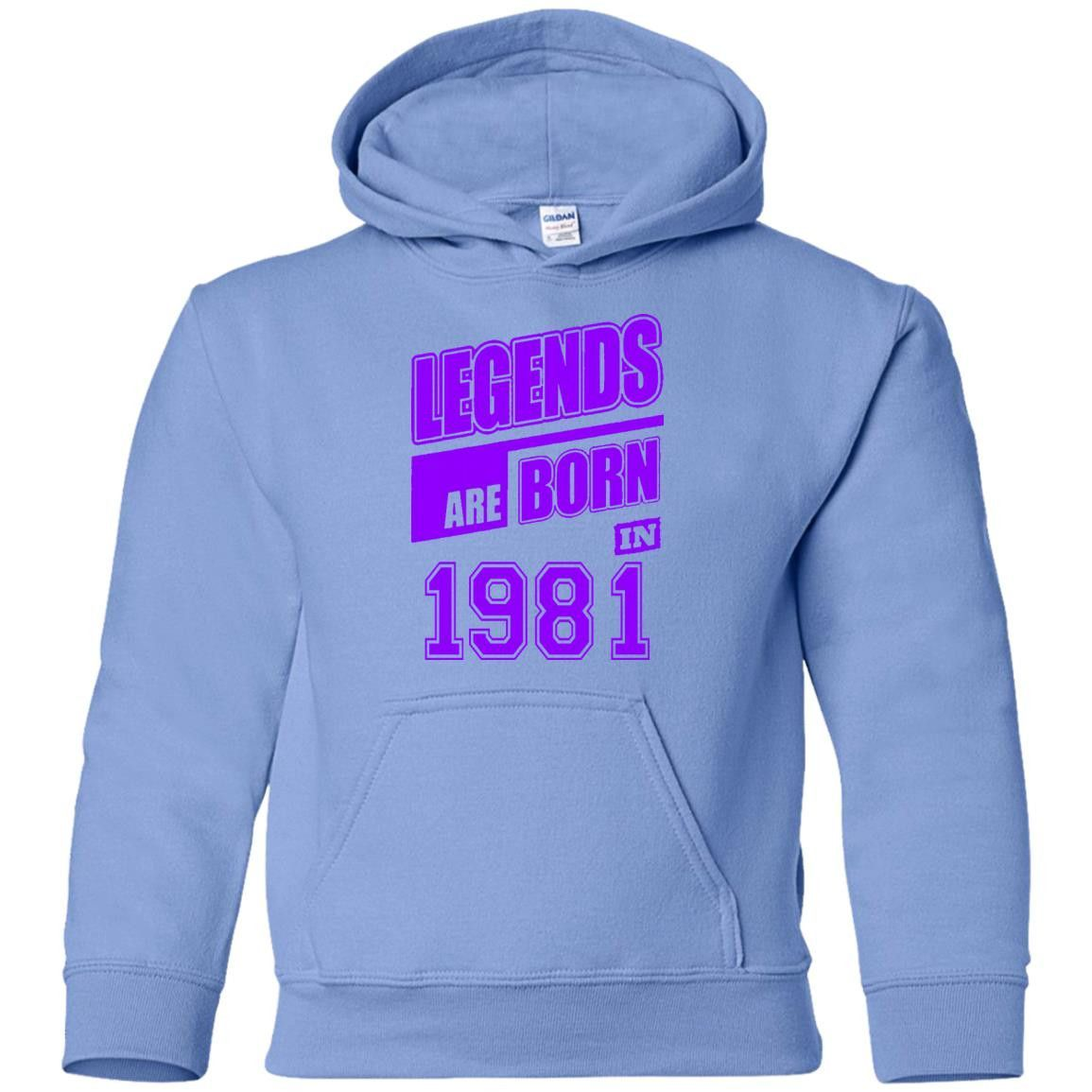 LEGENDS ARE BORN IN 1981 19 G185B Gildan Youth Pullover Hoodie