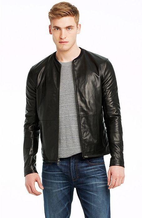 Blazer Coat Real Leather Black Biker Moto Racer Jacket Men Fashion