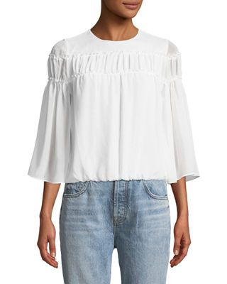203624bf06abb1 Alice + Olivia Shannon Bell-Sleeve Top with Ruffled Trim