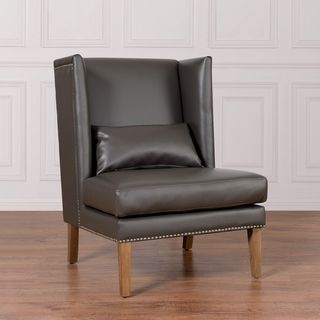 Chelsea Grey Leather Wing Chair Overstock $620