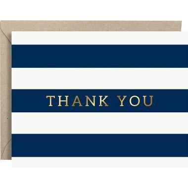 Navy Stripe Gold Foil Thank You Card Set Pinterest Navy