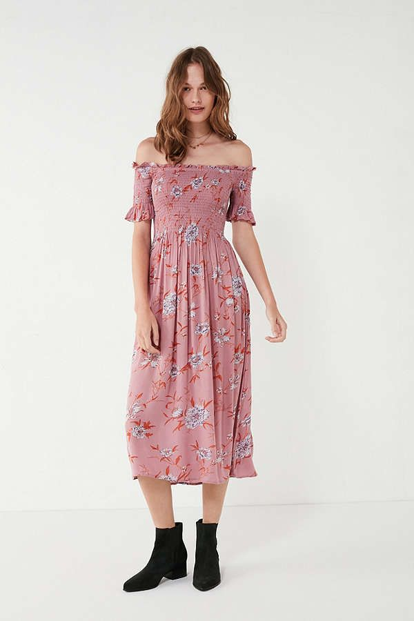 28367c1a1 Kimchi Blue Off-The-Shoulder Smocked Dress | Urban Outfitters ...