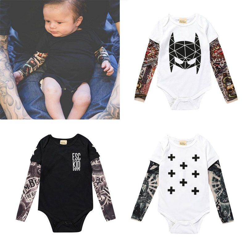 Click To Buy Tattoo Print Cool Fashion Kids Boys Clothes Newborn Infant Baby Boys Long Sleeve Prin Baby Outfits Newborn Boy Outfits Floral Print Bodysuit