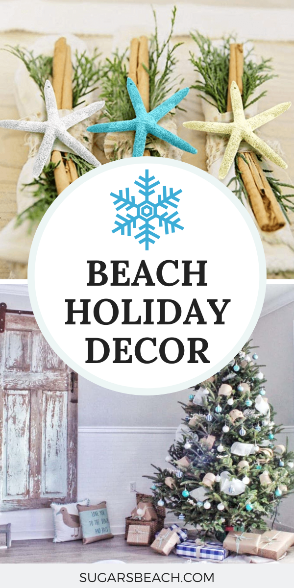 How To Get A Coastal Look For The Holidays On A Budget Sugars Beach Christmas Table Decorations Holiday Decor Purple Christmas Tree