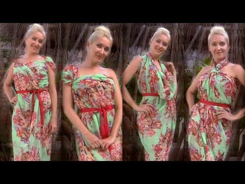 How to tie scarf dresses - 8 different ways to tie a beach pareo in summer - YouTube