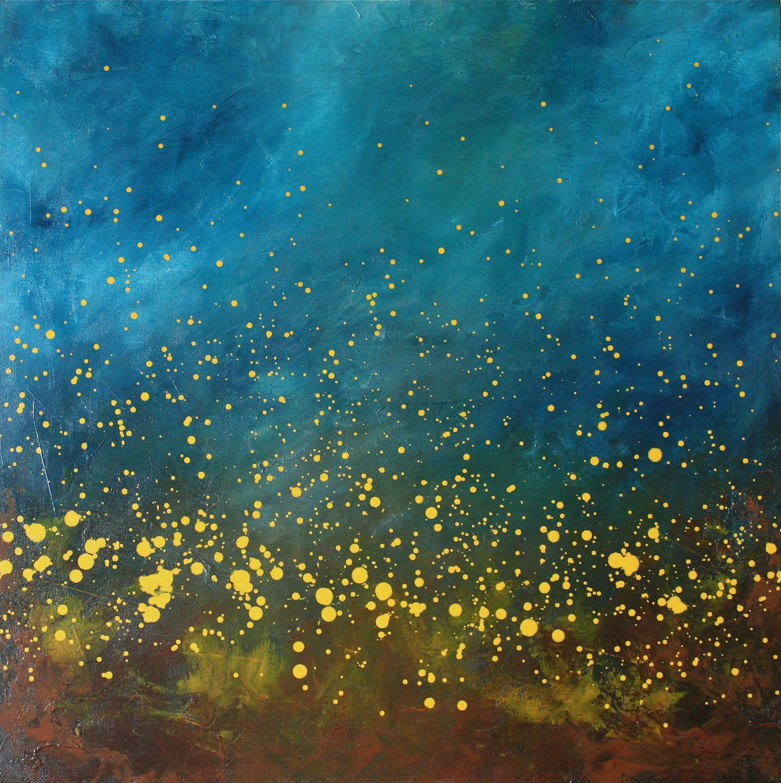 Chasing Fireflies II turquoise blue aqua yellow modern art mid