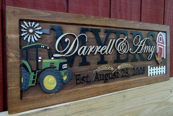 Farm Scene Green Tractor Anniversary Gift Wedding Gift Etsy Farm Gifts Farm Scene Personalized Wedding Gifts