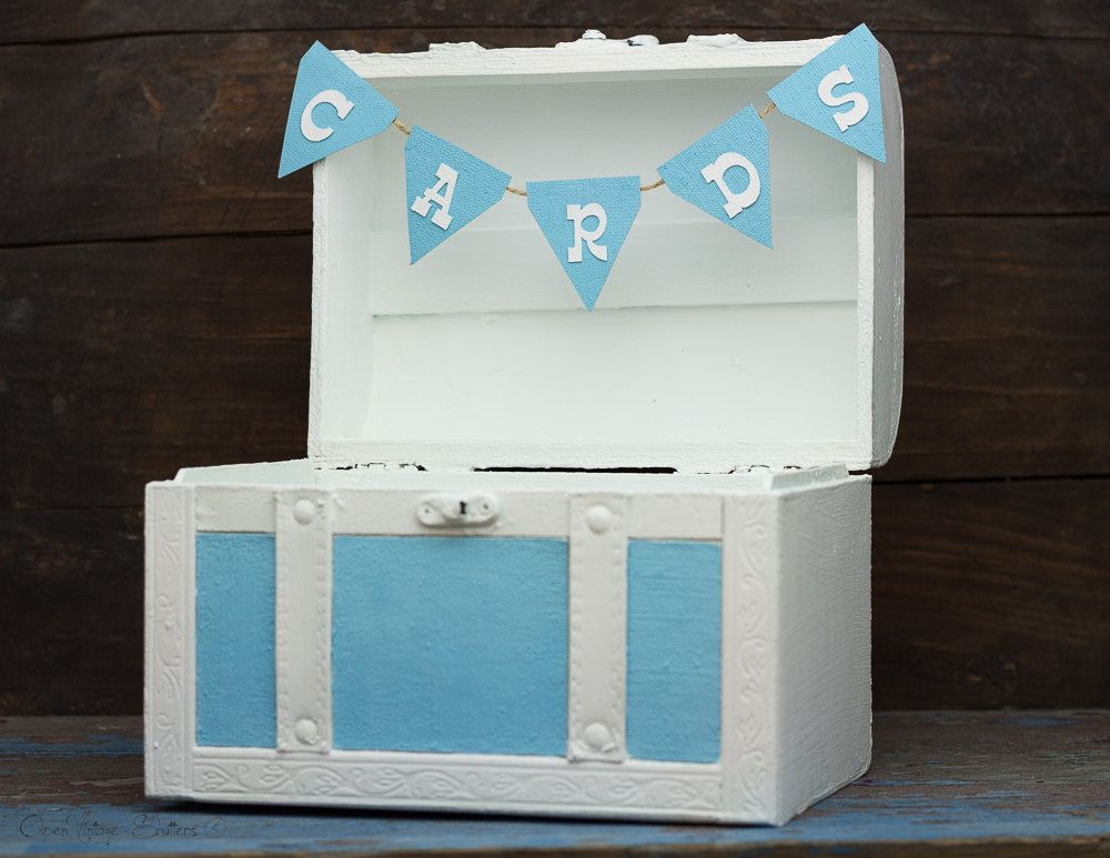 Baby boy coming home blue wooden box baby shower cards box