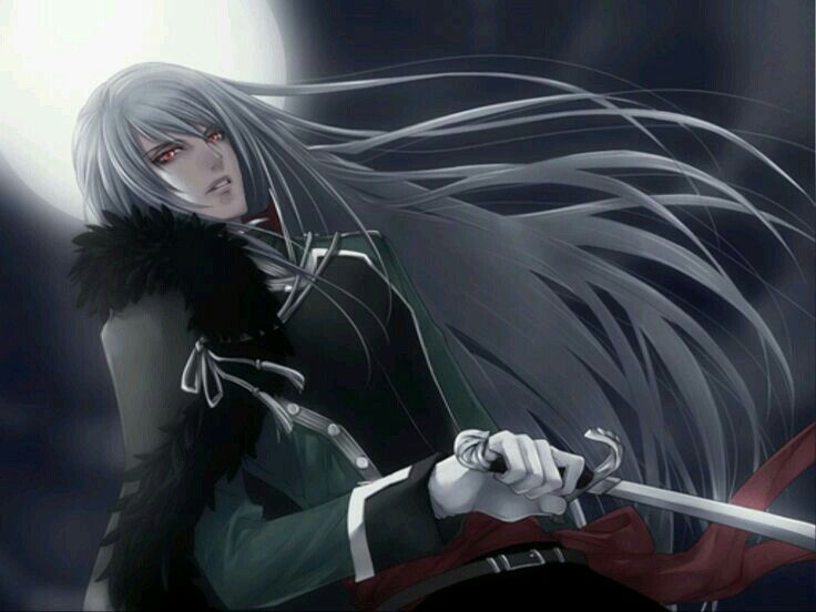 Long White Hair Anime Guy With Sword In Moonlight Character Illustration Boy