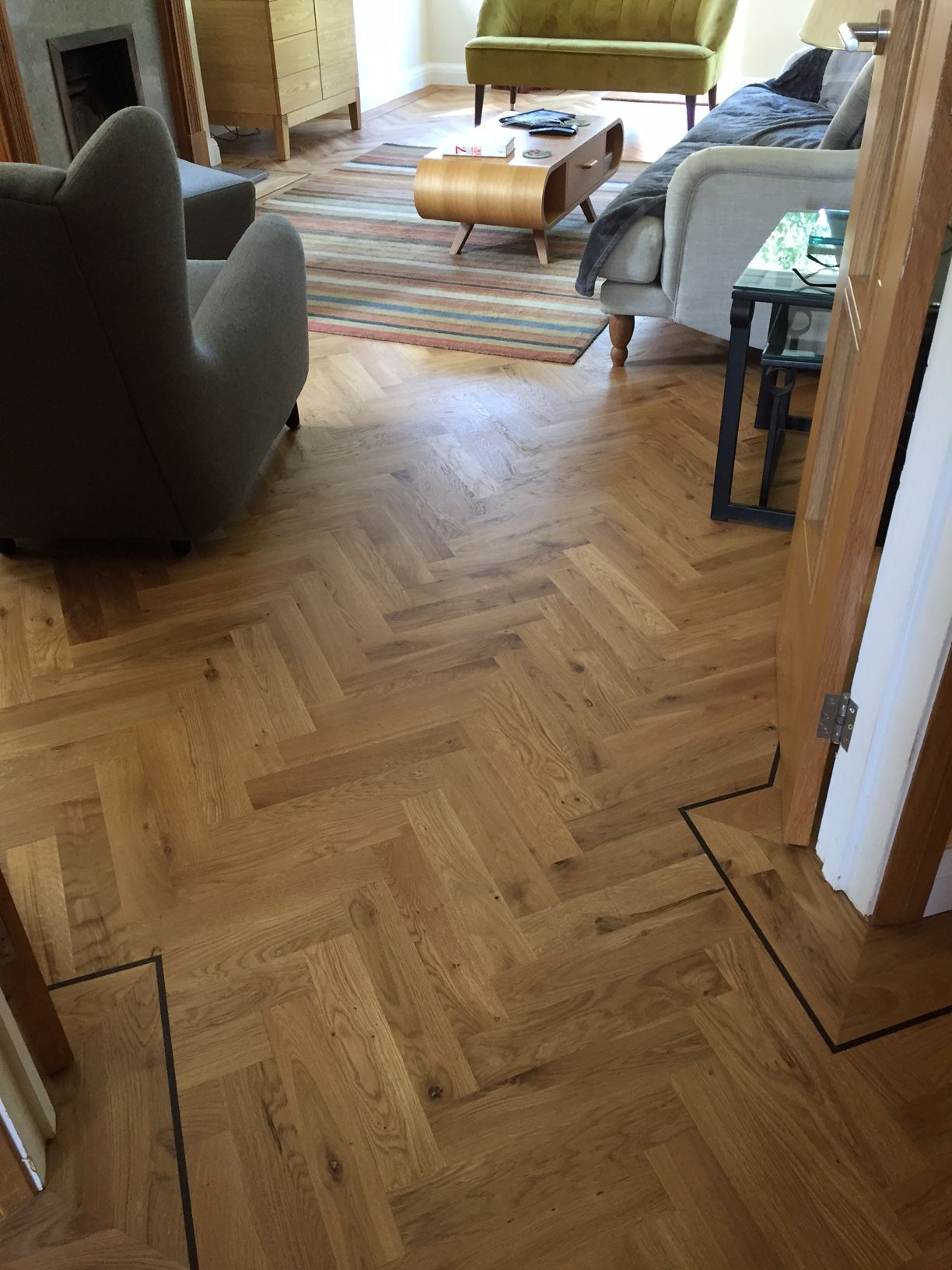 Our beautiful European Engineered Oak in parquet, with a