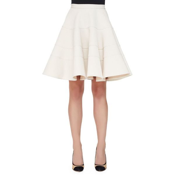 Armani Collezioni.  Seamed Double-Cady Full Skirt, Ivory.  Armani Collezioni skirt.  Horizontal-seamed double cady.  High waist sits at the navel.  Seam pocket…