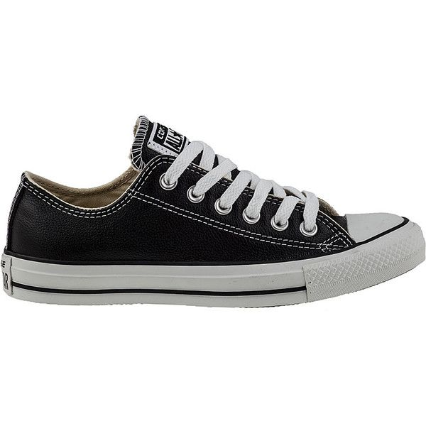 CONVERSE WOMEN'S CHUCK TAYLOR ALL-STAR SNEAKER BLACK LEATHER ($65) ❤ liked on Polyvore featuring shoes, sneakers, converse, sapatos, black shoes, leather trainers, genuine leather shoes, black leather shoes and black sneakers