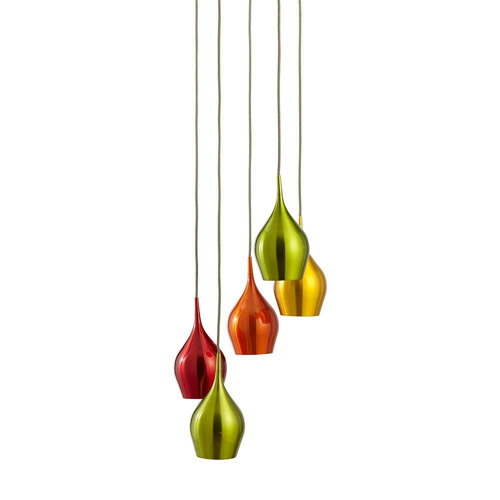 Searchlight Lighting Vibrant 5 Light Ceiling Pendant with Multi-Coloured  Shades