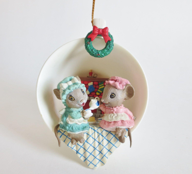 Two For Tea Enesco Ornament, Vintage Enesco Ornament Mice In