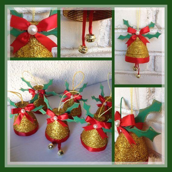 Campanas navideñas, con botellas de plastico o pet, decorada con ...