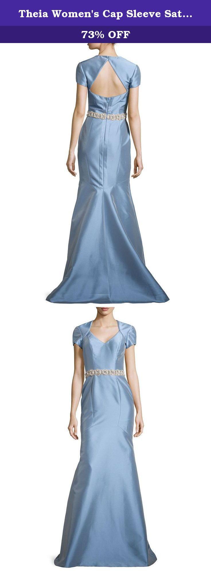 Theia Women\'s Cap Sleeve Satin Mermaid Dress 14 Powder Blue. Full ...