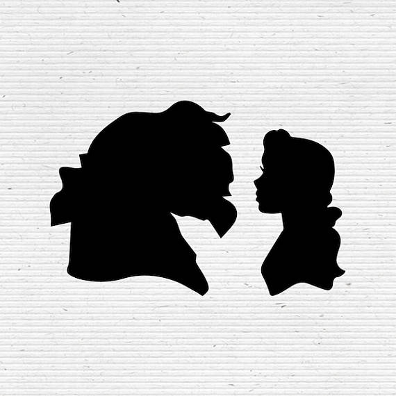 belle in beauty and the beast disney silhouette svg and dxf cut file