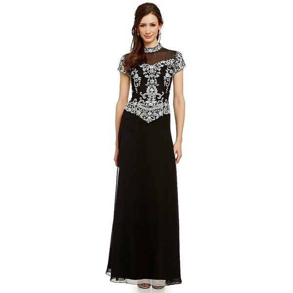 JKara Mock Two-Piece Beaded Chiffon Gown ($218) ❤ liked on Polyvore ...