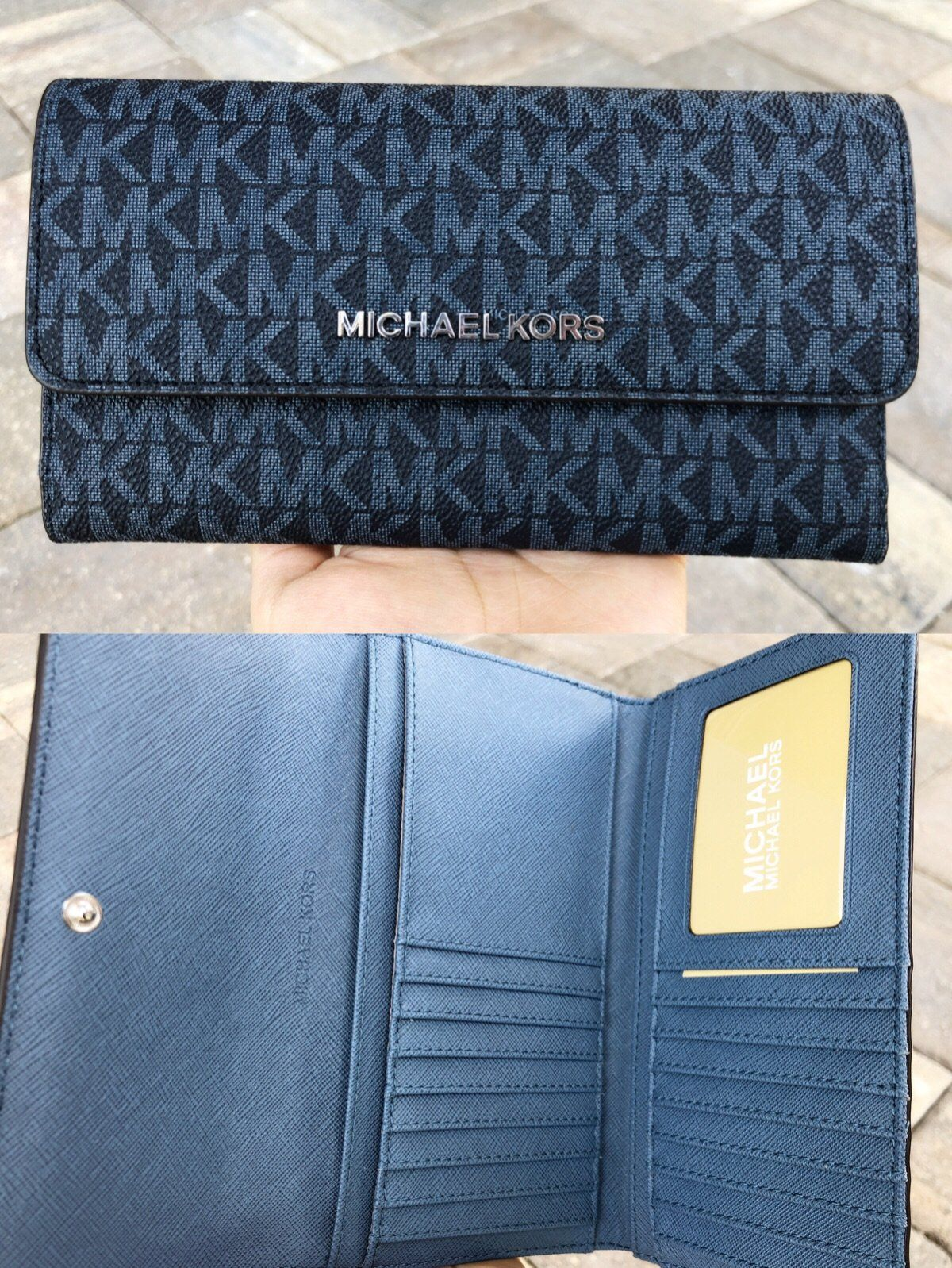 96fb49700070 Michael Kors Jet Set Travel Large Trifold Wallet Admiral Blue Signature MK   Handbags  GabysBags