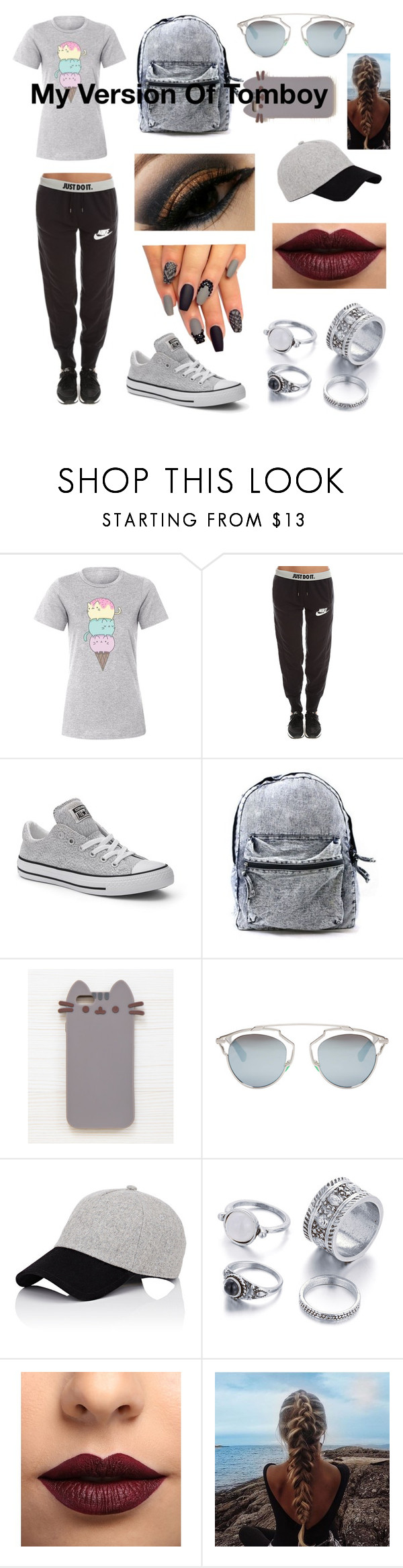 """My Version Of Tomboy"" by sodenoshirayuki-kuran ❤ liked on Polyvore featuring Pusheen, NIKE, Converse, Christian Dior, rag & bone and LASplash"
