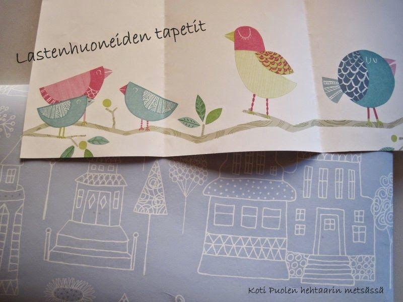 Koti Puolen hehtaarin metsässä #tapetti #sandberg #pöllötapetti #talotapetti #lastenhuone