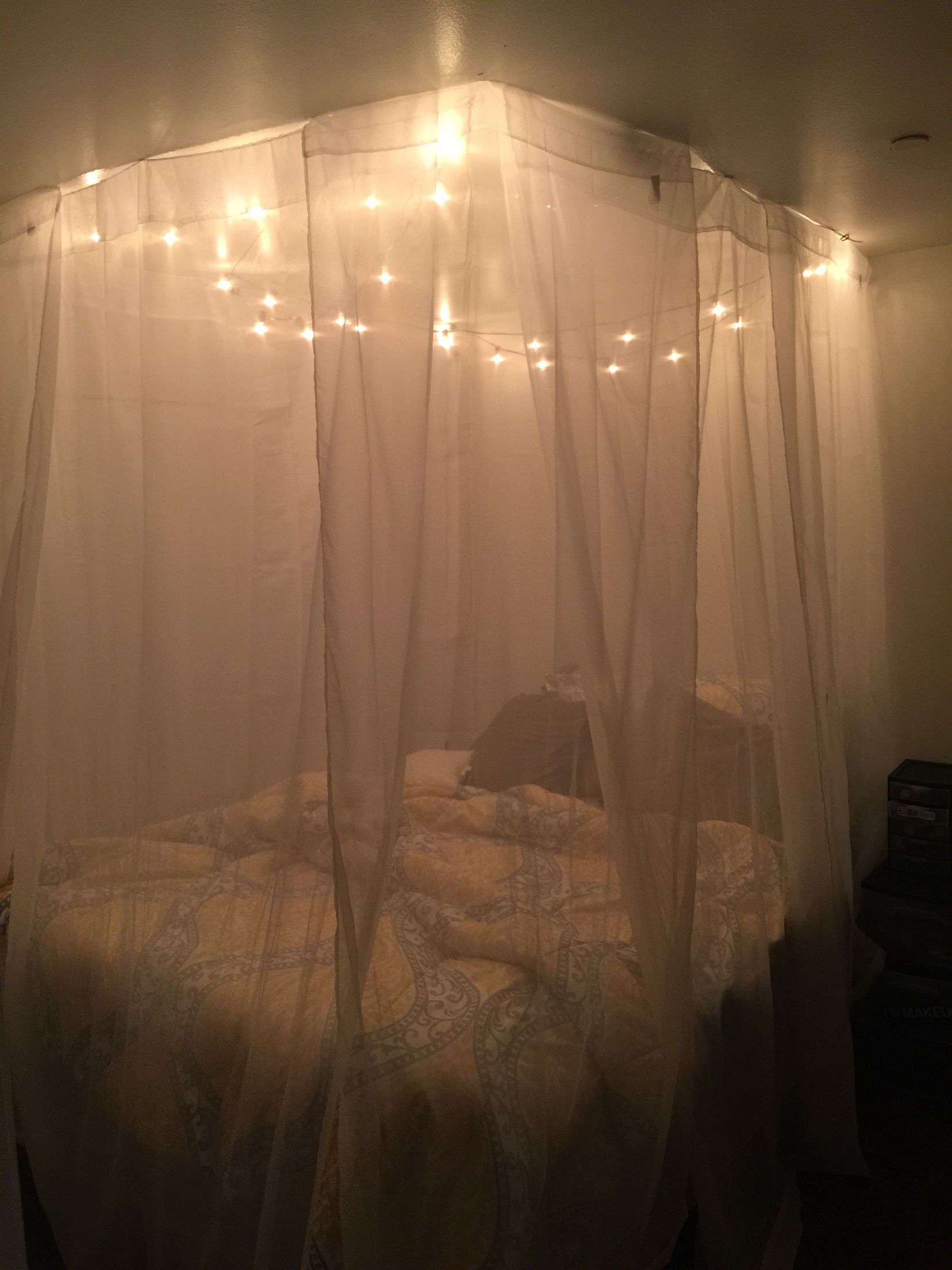 my recreation of a homemade canopy with lights livin the. Black Bedroom Furniture Sets. Home Design Ideas