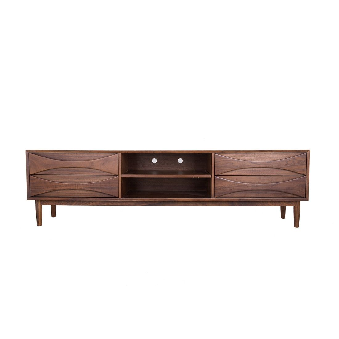 Halvmane Media Unit The Halvmane Media Console Is Inspired By The Mid Century Modern Designs Of 1950 S Denmark This Furniture Media Unit Solid Wood Tv Stand