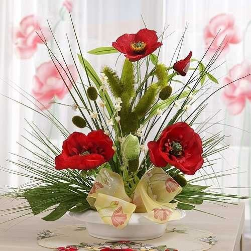 15 gorgeous red poopy flower arrangements and remembrance day table red poppy flower arrangement with green leaves mightylinksfo