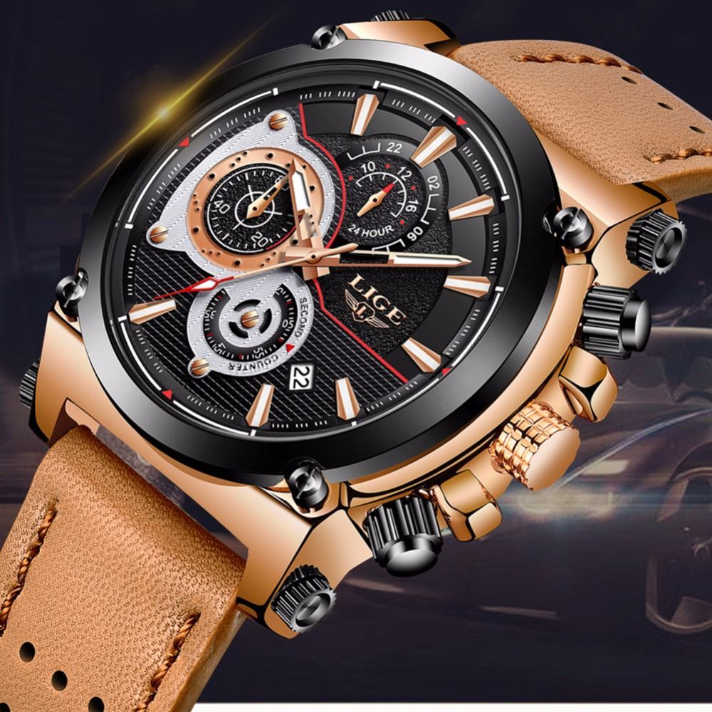4bce576480e 2018 Lige Mens Watches Lg9854a-gold brown Top Brand Luxury Quartz Gold Watch  Men Casual Leather Military Waterproof Sport Watch - Buy Leather Watches