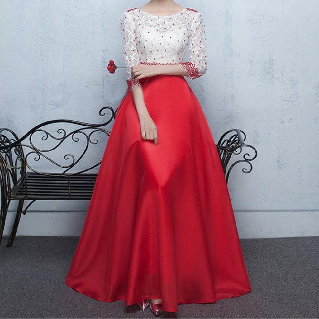 Gorgeous red beading lace half sleeve long aline round neck prom